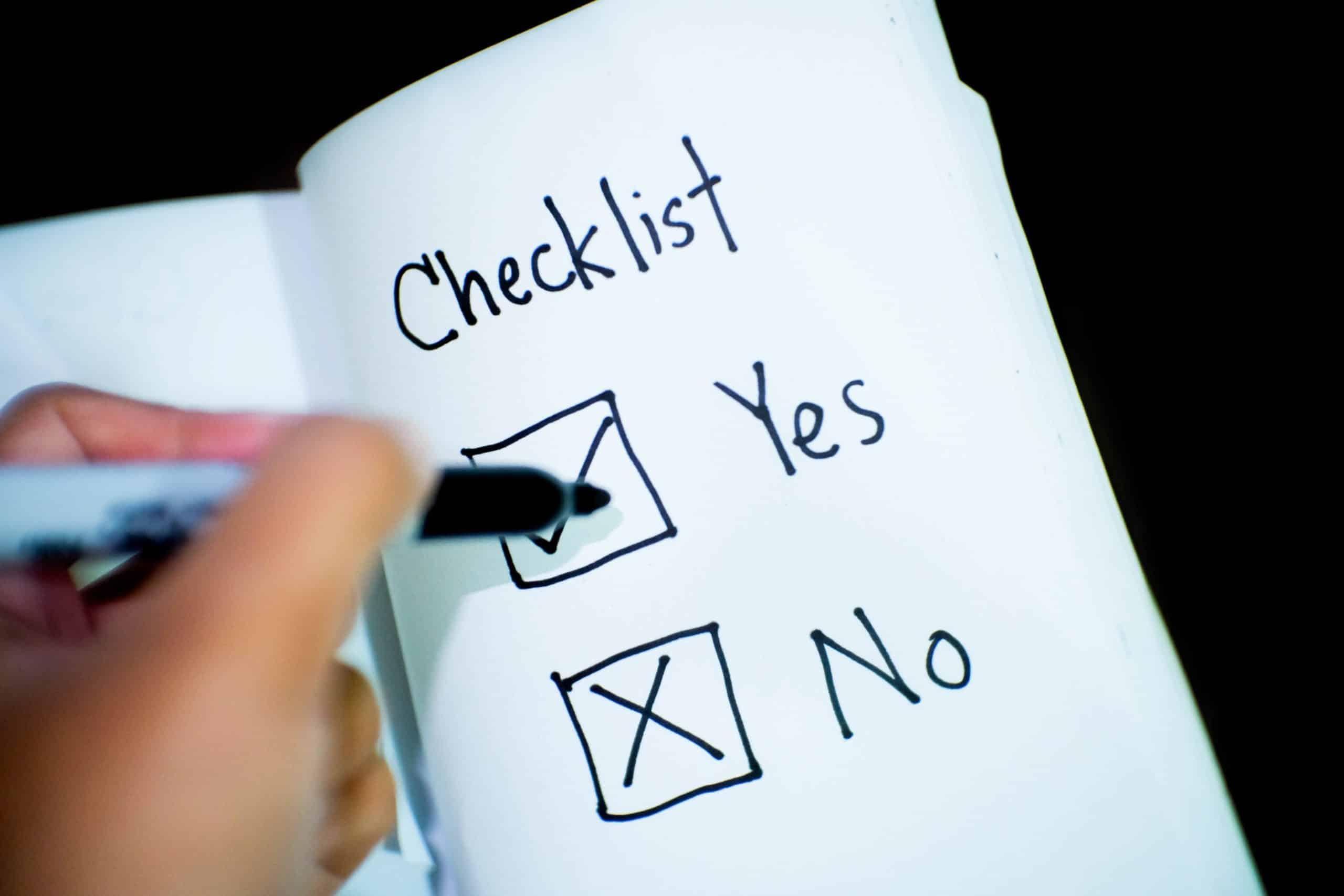 Checklist image with black sharpie website design