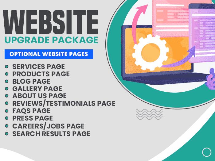 Displays website upgrade package benefits