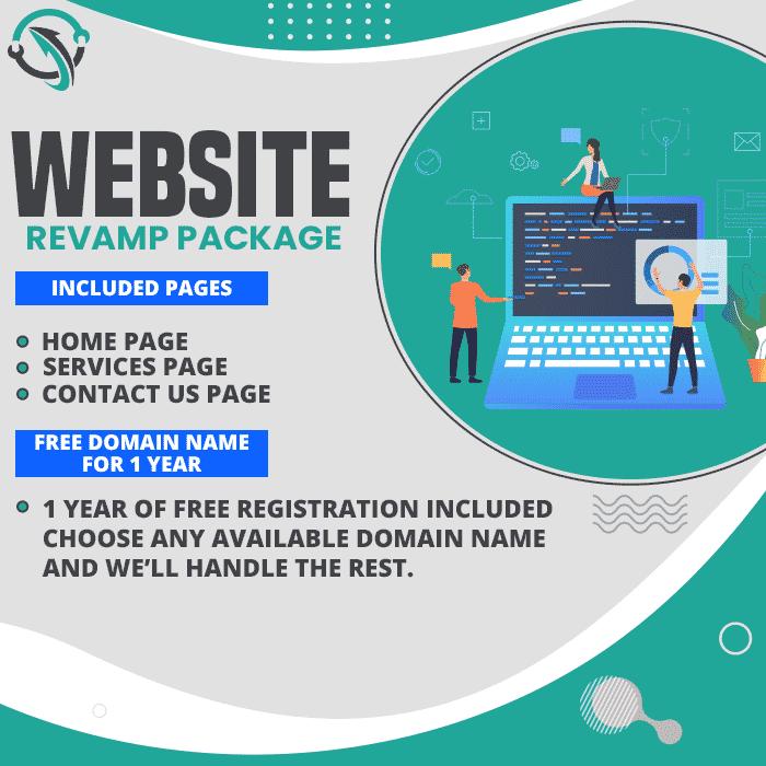 Displays website revamp package benefits