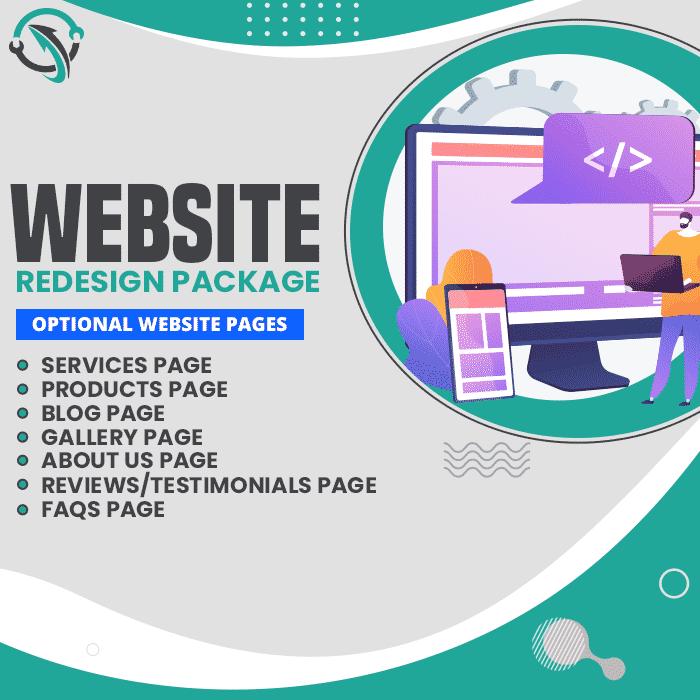 Displays website redesign package benefits